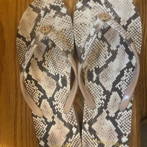Tory Burch snake print flip flops